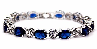 18k White Gold Plated Blue Sapphire And White Topaz 10.72ct Bracelet