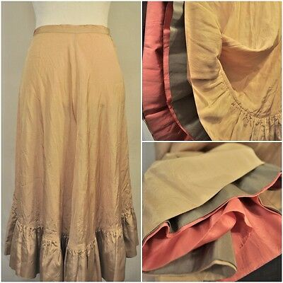 VTG Early 1900s Roos Bros Silk Multi Color Ruffle Slip Skirt Petticoat Small