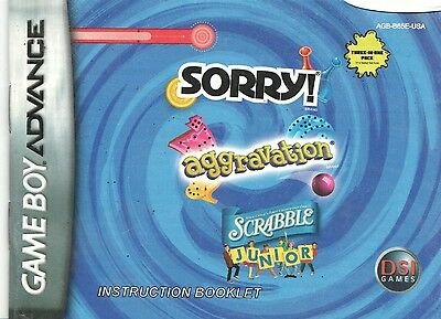 [MANUAL] Nintendo GameBoy Advance Sorry Aggravation Scrabble Instruction Booklet