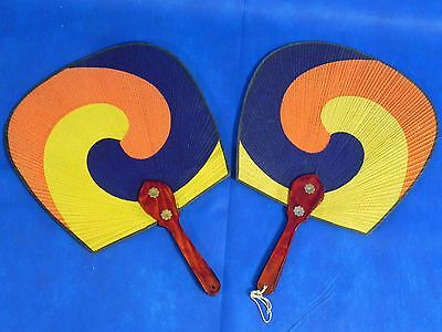 2 (pair) Hand Held Fan Oriental Non Folding Fantail with wood handle VINTAGE