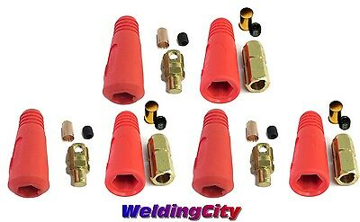 3-pk Welding Cable Twistlock Connector Set (Red) Dinse 1/0-3/0 50-70mm US Seller