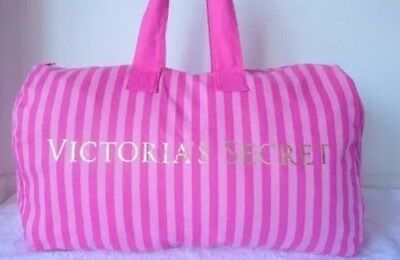 Victoria's Secret Weekender Duffle Bag Striped Pink Canvas