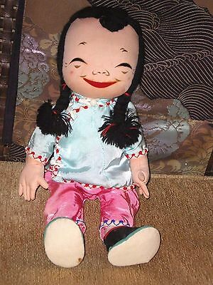 Darling Old Chinese Michael Lee Cloth Girl Doll Metal Jointed Legs Arms