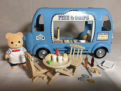 Calico critters/sylvanian families Fish & Chips Van With Seller & Accessories