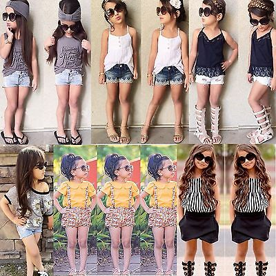Kids Baby Girls Summer Clothes T-shirt Tops+Pants/Shorts/Jeans Outfits 2PCS Set