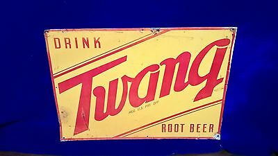 Vintage Twang Root Beer Tin Sign bottle coca cola pepsi masons a & w dads hires