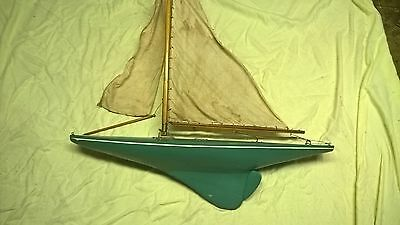 "ANTIQUE Vintage 36"" Wood Wooden Model Sailboat Pond Boat Yacht Ship"