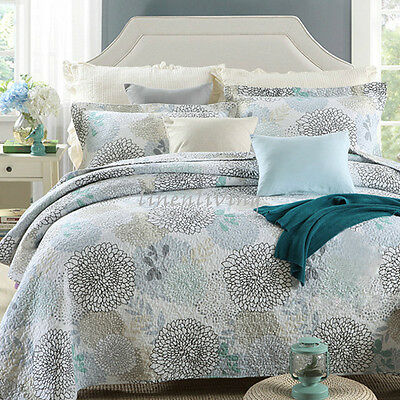 Reversible Quilted Cotton Patchwork Coverlet Bedspread 3pc Set Queen King  MP005