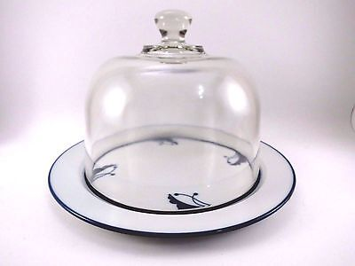"""Dansk Japan Glass Domed Cheese Plate 8.75"""" Flora BAYBERRY BLUE VGUC Porcelain"""