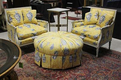 FRENCH STYLE CARVED ARMCHAIRS AND OTTOMAN Lot 6133