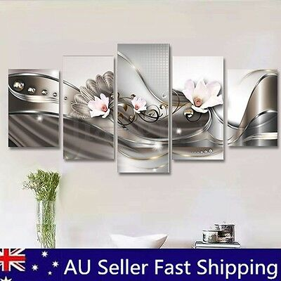 Framed 5pcs Flower Abstract Canvas Print Painting Picture Home Wall Art Decor