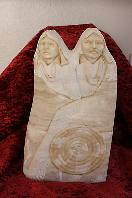 Native American Navajo Hand Carved Alabaster Stone Sculpture by Leonard Howard