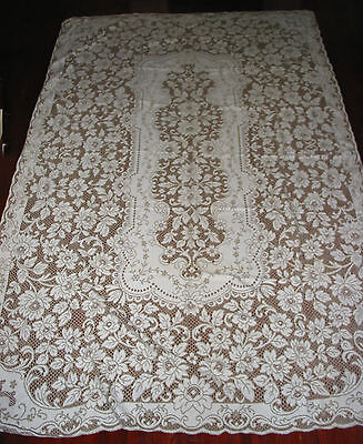 "Vintage Lace Tablecloth 102"" by 66"" , Off-white &Taupe Victorian style"