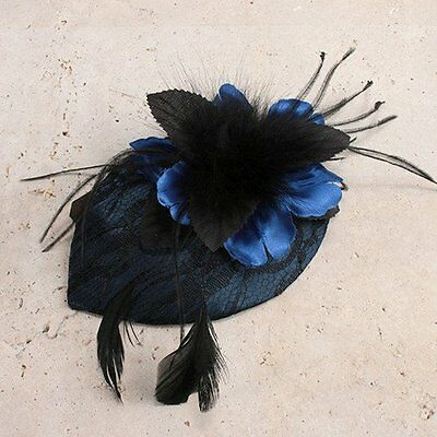 Beautiful Blue Flower and Feather Fascinator