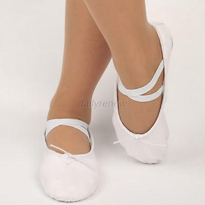 White Adult Canvas Flat Slippers Gym Ballet Pointe Dance Soft Shoes Size 35