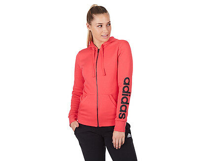 Adidas Women's Essentials Linear Full Zip Fleece Hoodie - Coral Pink