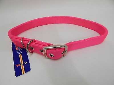 Hamilton Double Thick Nylon Deluxe Dog Collar 1-Inch by 30-Inch Hot Pink