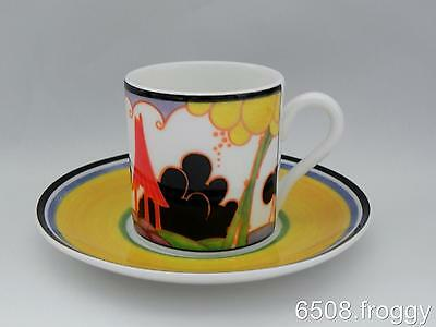 W/WOOD-CLARICE CLIFF-Café Chic Cup/Saucer- SUMMERHOUSE - Mint Condition