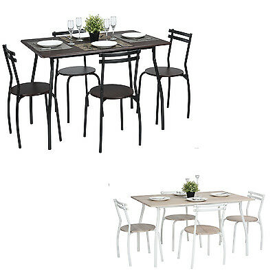 5PCS Dining Table and 4 Chairs Home Table Seat Kitchen Set Vintage Country Style