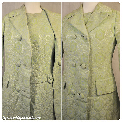 Vintage 60s Eatons Mod Psychedelic Brocade Peacoat Jacket & Dress Set Lime Blue