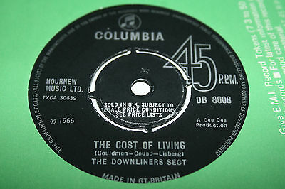 DOWNLINERS SECT the cost of living. uk 45 Columbia DB 8008. mint vinyl!