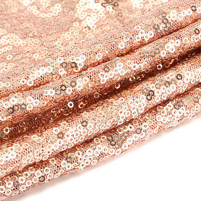 Rectangle Wedding Table Runner Gold Sparkly Rose Sequin Upholstery 12'' x 72''