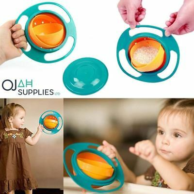 Avoid Food Spilling 360 Rotating Baby Kid Non Spill Feeding Toddler Gyro Bowl !