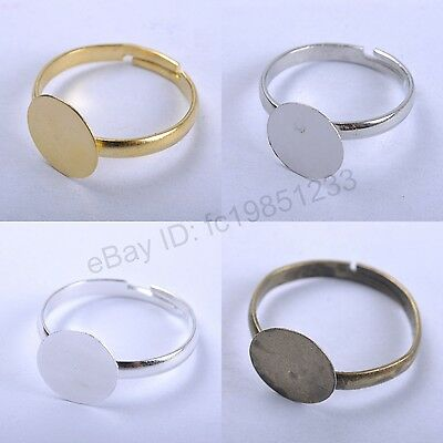 30pcs SILVER, BRONZE & GOLD PLATED Adjustable WIDE RING BLANKS