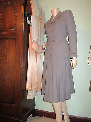 Original Vintage 1940's Ladies Suit Grey Wool Jacket & Skirt Hebe Sports