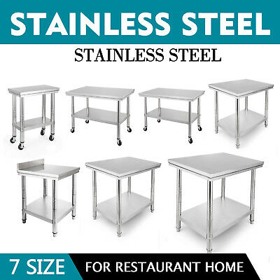 Stainless Steel Catering Table Commercial Work Bench Kitchen Worktop Backsplash