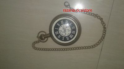 Antique Brass Nautical Pocket Watch Inscribed Roman Numbers Style Antique Finish