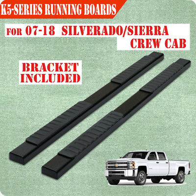 """Fit 07-17 Chevy Silverado Double Cab 5"""" Running Boards Side Step Side Bar Black"""