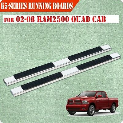 """Fit 02-08 Dodge Quad Cab 4"""" Running Board Nerf Bar Side Step Stainless Steel"""
