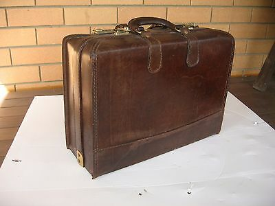 vintage leather suitcase train or travel suitcase double compartment  -very rare