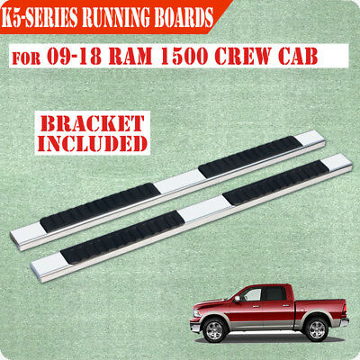 """Fit 09-17 Dodge Crew Cab 5"""" Running Board Nerf Bar Side Step Stainless Steel H"""