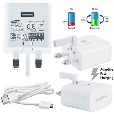 100%Genuine Samsung Galaxy S6 Edge+ S7 Note 5/4 HTC Fast Charger & USB Cable UK