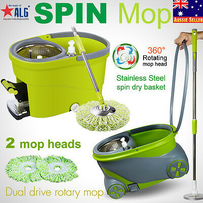 360 Degree Spinning Mop &Stainless Steel Spin Dry Bucket with Wheels 2 Mop Heads