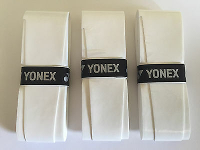 3x YONEX Super Grap Overgrip - WHITE - Overgrips over grip - Quality Tennis Tape