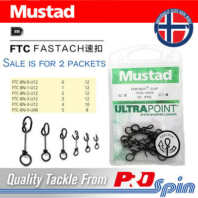 2 Pack Mustad Fastach Clips - Ultra Point FTC Quick Lock Snap Clip - Choose Size
