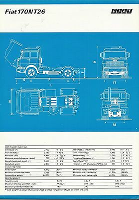 FIAT 170 NT26 TRUCK / LORRY original c 1976 1977 UK 2sided specification leaflet
