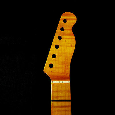 One Piece Flame AAAA Maple tele Guitar Neck Fender/ Replacement !!!