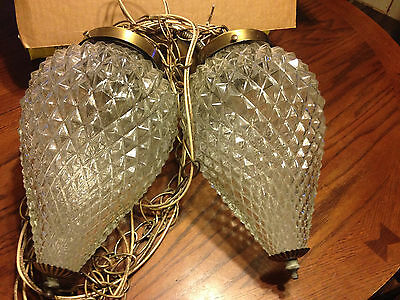 Vintage Pair Hanging Swag Light Retro Ceiling Lamp Fixture Clear Glass