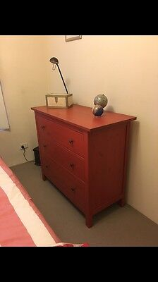 IKEA Tall Boy / Chest Of Drawers Red Washed Timber