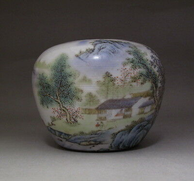 Old Chinese Famille Rose landscape Porcelain Brush Washer