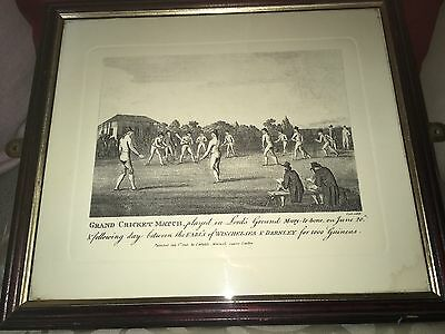 Framed Cricket Game Print 1793 Winchelsea V Darnley At Lords 2 Guineas Prize !