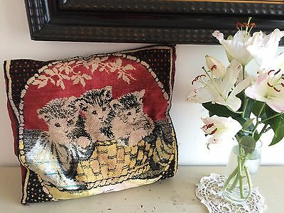Vintage Victorian Chenille Cushion Cover Slip Kittens In Basket Shabby Chic Home