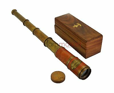 Beautiful Pink Leather Encased Brass Telescope with Wood Box Handmade
