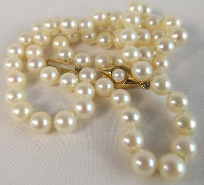 Japanese saltwater Pearl necklace 9ct gold clasp superb smooth high shine nacre