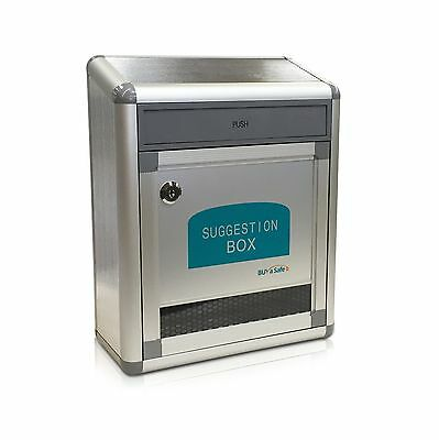 BUYaSafe B-036 Aluminum Suggestion Box with Flap Drop Door