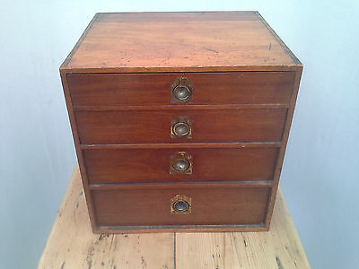 Small Vintage chest With Graduated drawers apprentice piece miniature. Retro